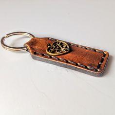 Accessories  Keychains  Lanyards  Keychains  leather Keychain mens  keychain with heart brown keychain aged leather custom keychain