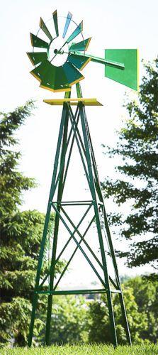 8ft Green Metal Windmill Yard Garden Decoration Weather Rust Resistant Wind Mill | eBay