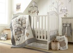 Woodland animal crib bedding - wooden home decor Owl Themed Nursery, Owl Nursery, Nursery Sets, Baby Boy Nurseries, Baby Cribs, Taupe Nursery, Owl Crib Bedding, Baby Names Short, Levtex Baby