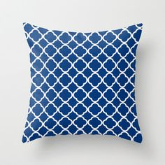 Geometric Decorative Throw Pillow, Cover, Case, 18x18, 20x20, Outdoor, Royal Blue Decor, Quatrefoil