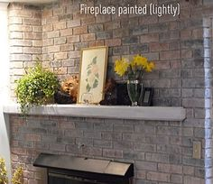 Frickin' ingenious!!!  Spraypainting bricks with watered down paint to brighten them and keep some of the original color!