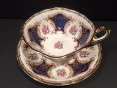 Cobalt AND Gold Panel With Dainty Flowers Paragon TEA CUP AND Saucer SET | eBay