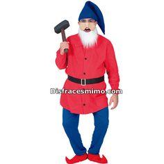 Tu mejor disfraz de enanito hombre adulto.Este divertido Disfraz de Papá Pitufo destacarás como el jefe del bosque en Fiestas Temáticas, de Disfraces o en Carnavales.