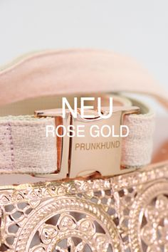 Rose gold dog collar and leash found on www.Prunkhund.com