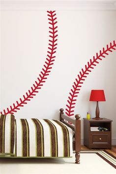 "PLAY BALL!  Decorate the kids room or man cave with ""Baseball Stitches"" Wall Decal by WALLTAT."