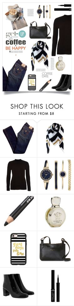 """Get up get coffee be happy"" by im-karla-with-a-k ❤ liked on Polyvore featuring Expresso, True Religion, River Island, Anne Klein, Versace, Casetify, Longchamp, Yves Saint Laurent, Giorgio Armani and CoffeeDate"