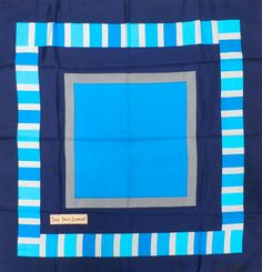 Exceptional Vintage Yves St. Laurent Silk Scarf 1960S Blues Geometric