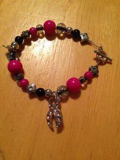 Breast Cancer awareness bracelet by Symbolism4Survivors on Etsy, $8.00