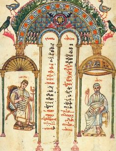for example, the rubrics in the richly illuminated canon table of Eusabius in the Rabula gospels indicate where segments of the Evangelists recount particular events for use in liturgies in Syriac (Archdiocese of Speyer website) more at http://sor.cua.edu/Bible/RabbulaMs.html