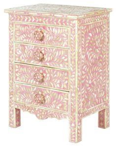 Pink Bone Bedside Chest - Iris Furniture