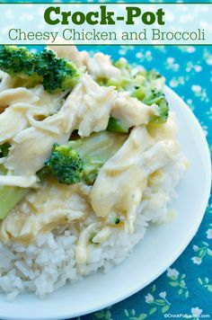 """With just 6 ingredients in this """"dump and go"""" recipe for Crock-Pot Cheesy Chicken and Broccoli it could not be easier to make. Serve over white or brown rice, mashed potatoes or noodles for a dinner the whole family will love! Cheesy Chicken And Broccoli Recipe, Broccoli Recipes, Meat Recipes, Slow Cooker Recipes, Crockpot Recipes, Chicken Recipes, Dinner Recipes, Cooking Recipes"""