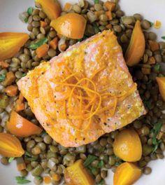 Citrus-Glazed Salmon with Lentils & Golden Beets image