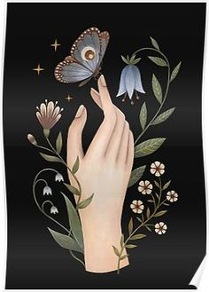 'Gentle touch' Poster by Laorel Painting Inspiration, Art Inspo, Botanical Illustration, Illustration Art, Poster S, Hand Art, Motif Floral, Moon Art, Pretty Art