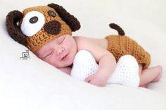 Häkeln Sie Baby Welpen Hund Hut Windel Cover Knochen Set Beanie Baby Neugeborenen Fotografie Foto Prop Baby handgemachte Shower Gift