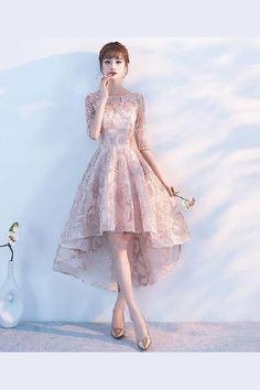Princess A Line Lace High Low Half Sleeves Homecoming Dresses Lace Homecoming Dress Homecoming Dresses Homecoming Dress A-Line Homecoming Dress High Low Homecoming Dresses 2019 Homecoming Dresses High Low, Cute Prom Dresses, Prom Dresses With Sleeves, Modest Dresses, Pretty Dresses, Beautiful Dresses, Short Dresses, Short Prom, High Low Dresses