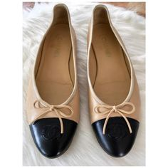 ac04c9db8 Chanel Beige and Black Iconic Cc Cap Toe Classic Lambskin Ballet Flats Size  EU 41 (Approx. US 11) Regular (M, B). Get the must-have flats of this  season!