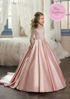 12730d0bc3ae gown for kids Picture - More Detailed Picture about Christmas Fancy Flower  Girl Dress Floor Length Button Draped Pink Long Sleeves Tulle Ball Gowns  for Kids ...