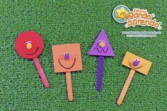 paletas para figuras geometricas - Búsqueda de Google Abc Preschool, Preschool Spanish, Spanish Activities, Go Math, Some Ideas, Teaching Tips, Triangle, Games, Fun