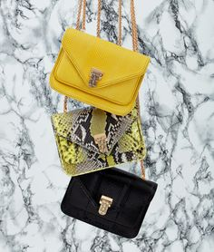 Baraboux creates luxury bags that meet the dynamic lifestyle of today's woman, from clutch and tote to shoulder bags, all with highest quality exotic skins. One Bag, Luxury Bags, Ss16, Python, Exotic, Shoulder Bag, Handbags, Yellow, Black