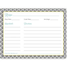 Have guests share recipes at your bridal shower with this gray and yellow quatrefoil recipe card with aqua blue font.
