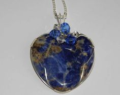 Wire Wrapped Pendant Sodalite Stone Heart by PebblesnPaint on Etsy, $26.00