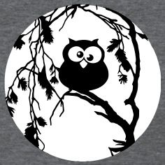 Funny Owl Sitting In The Tree And Has The Moon In Women S T Shirts