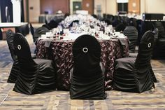 A classy look with black chair covers with rhinestone accents and lush brown linens. Black and brown decor, room decor. Black Chair Covers, Brown Decor, How To Look Classy, Table Linens, Calgary, Black And Brown, Floral Design, Decor Room, Elegant
