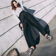 Aliexpress.com  Comprar TWOTWINSTYLE Fajas Pantalón de Pierna Ancha Para  Las Mujeres de Cintura 91eb14fccbfc