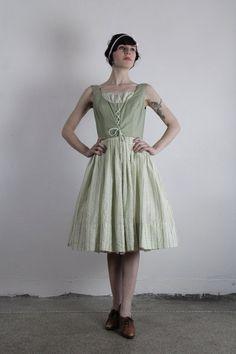 Vintage Dirndl Dress   Green Corset Top  1960s by VeraVague.etsy.com