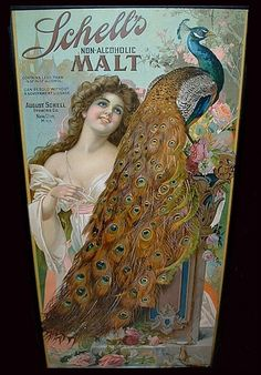 Schell's Non-Alcoholic Malt peacock Art Vintage, Vintage Ads, Vintage Prints, Vintage Posters, Retro Ads, Peacock Colors, Peacock Art, Peacock Theme, Vintage Advertising Signs