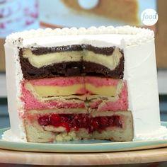 Pie Inside of Cake = Piecaken #TheKitchenSink [recipe link in bio]