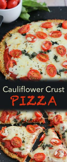 Cheesy Cauliflower Crust Pizza, crispy crust that is close to traditional - but Low-Carb and Low-Calorie. Uses Armstrong Cheese Monterey Jack with Jalapeño