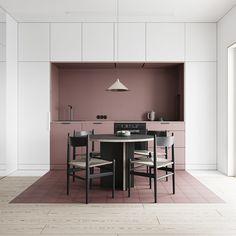 How to arrange an open space Small Interior design Interior Minimalista, Küchen Design, Layout Design, House Design, Design Ideas, Wall Design, Store Design, Minimalist Kitchen, Minimalist Interior