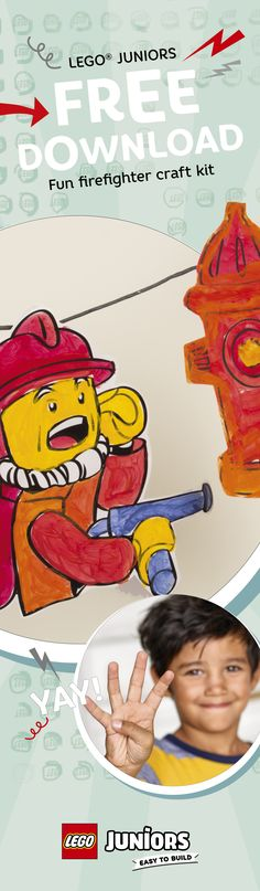 Here's a little inspiration for you and your child to cut out, color and create your own LEGO Juniors firefighter decorations! Everything you need to turn any room into your own fire station!