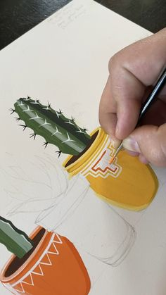 Gouache Painting Potted Cactus (part 2 of by Philip Boelter - Time to Zen Ou. - Gouache Painting Potted Cactus (part 2 of by Philip Boelter – Time to Zen Out and watch a sat - Gouache Painting, Painting & Drawing, Best Gouache Paint, Time Painting, Cactus Painting, Cactus Drawing, Plant Drawing, Painting Videos, Cute Art