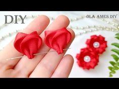 Diy Ribbon Flowers, Ribbon Flower Tutorial, Flower Hair Bows, Ribbon Embroidery Tutorial, Hand Embroidery Flowers, Kanzashi Flowers, Ribbon Work, Fabric Flowers, Flower Diy