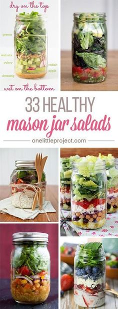 These healthy mason jar salads are AMAZING!! Prep all the ingredients on Sunday and you have easy lunches and side dishes all week! So easy and nutritious!!