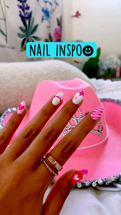 Acrylic Nails Coffin Short, Simple Acrylic Nails, Best Acrylic Nails, Acrylic Nail Designs, Simple Nails, Cute Gel Nails, Funky Nails, Pretty Nails, Cute Pink Nails