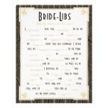 Art Deco Style Bride Libs Game Custom Flyer
