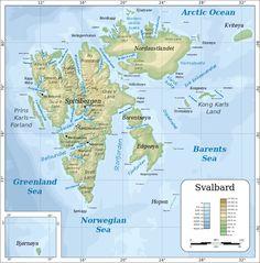 Topographic map of Svalbard ◆Svalbard - Wikipedia http://en.wikipedia.org/wiki/Svalbard #Svalbard