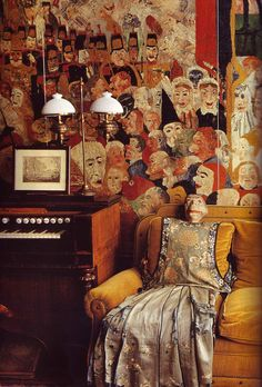 Well this is creepy Apartment. Apartment of painter James Ensor. Ostend, Belgium