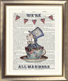 ART PRINT ON ORIGINAL ANTIQUE BOOK PAGE Alice in Wonderland Tea Party Mad Hatter   eBay