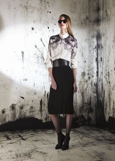 Printed Blouse with high waist skirt