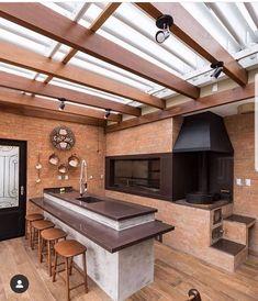 Área de Lazer com Churrasqueira: 15 Ideias para se Inspirar e Montar a Sua! Home Design Decor, Küchen Design, Home Decor, Design Ideas, Terrace Design, Backyard Patio Designs, Outdoor Kitchen Design, Cuisines Design, Exterior Design
