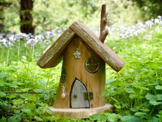 OOAK Wooden Fairy House with Blue Opening Door and by Smallhavens