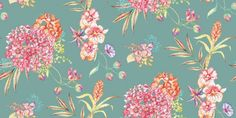 Margarita Multi (97882) - Albany Wallpapers - A bold and beautiful wallpaper design featuring large trailing flowers in various colours on a emerald green background. Other colourways are available. Please request a sample for a true colour match.
