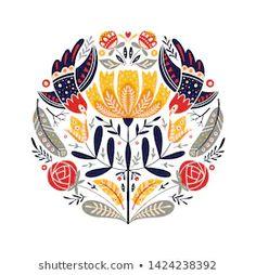 Bird Design, Circle Design, Scandinavian Design, Scandinavian Pattern, Arte Popular, Flower Designs, New Art, Floral, Hand Carved