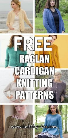 Free Raglan Cardigan Knitting Patterns – Knitting Patterns For Women Free Chunky Knitting Patterns, Ladies Cardigan Knitting Patterns, Knit Cardigan Pattern, Chunky Knit Cardigan, Sweater Patterns, Knitting Ideas, Knit Patterns, Knitting Projects, Knit Jacket