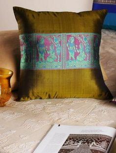 Olive-Green Handloom Silk Cushion Cover  16in x  16in
