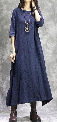 Vintage O-Neck Long Sleeve Asymmetric Shift Dress